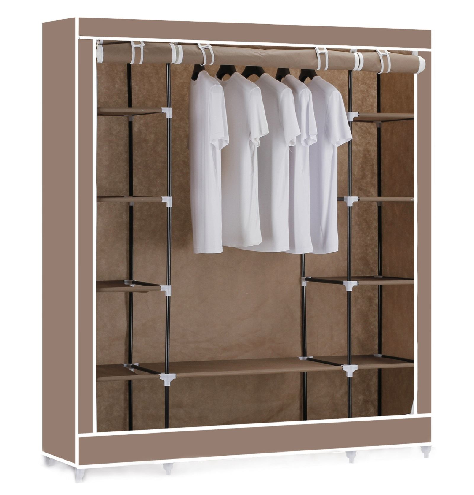 Stylish Vinsani-Triple-Canvas-Clothes-Wardrobe-Hanging-Rail-With- triple canvas wardrobe