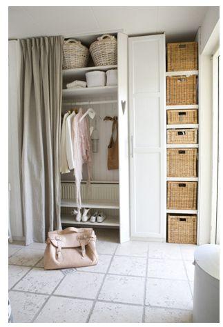 Stylish Wardrobe curtains + baskets open wardrobe storage