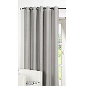 Stunning Dreamscene Luxury Ring Top Fully Lined Blackout Eyelet Thermal Door Curtain Silver thermal