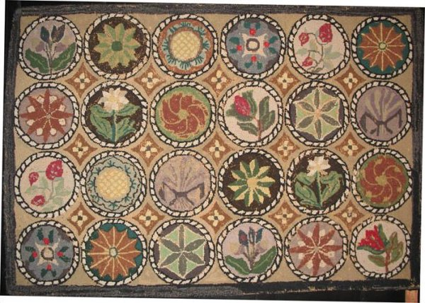 Trending COMPASS AND FLORAL MEDALLIONS ANTIQUE HOOKED RUG vintage hooked rugs