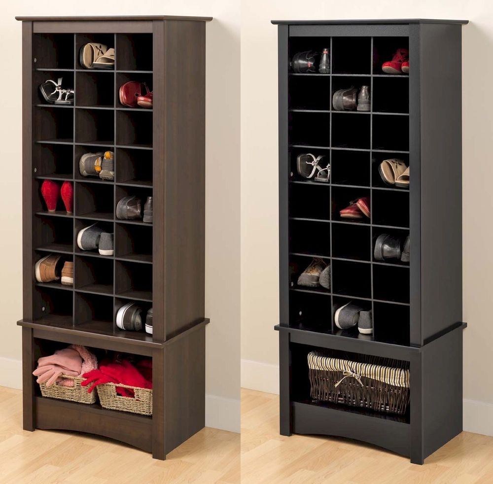 Trending Coolest Shoe Storage Cabi With Black And Brown Stained Walnut  Wooden Shoe Racks For Closets