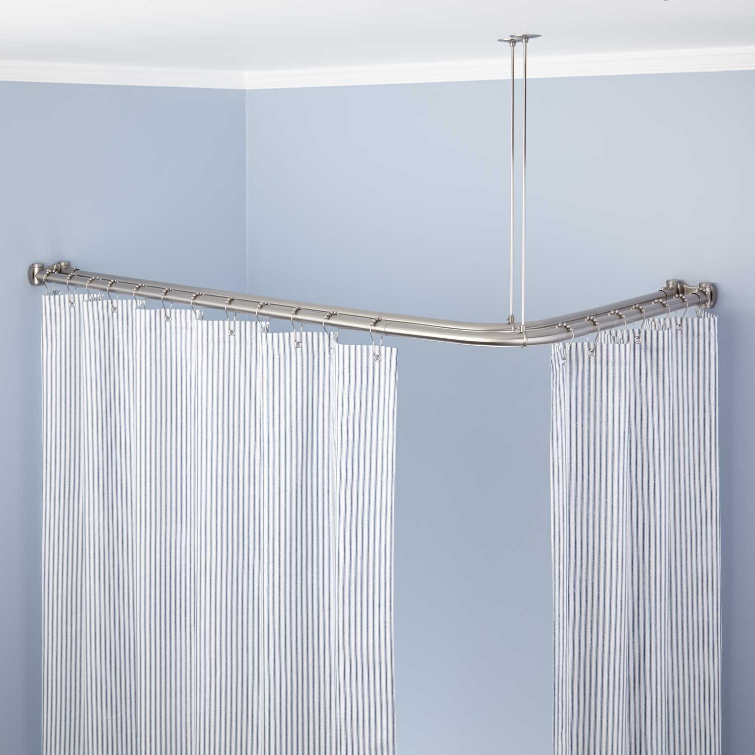 Attractive Trending Corner Double Shower Curtain Rod Corner Shower Curtain Rod