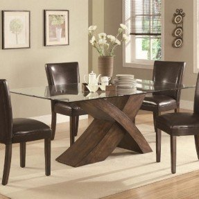 Trending Dining Table with Glass Top X Base Design in Deep latest dining table designs with glass top