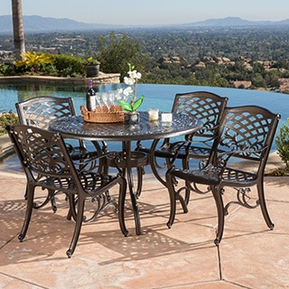 Trending Hallandale Sarasota Cast Aluminum Bronze 5-piece Outdoor Dining Set by  Christopher Knight patio table and chairs set