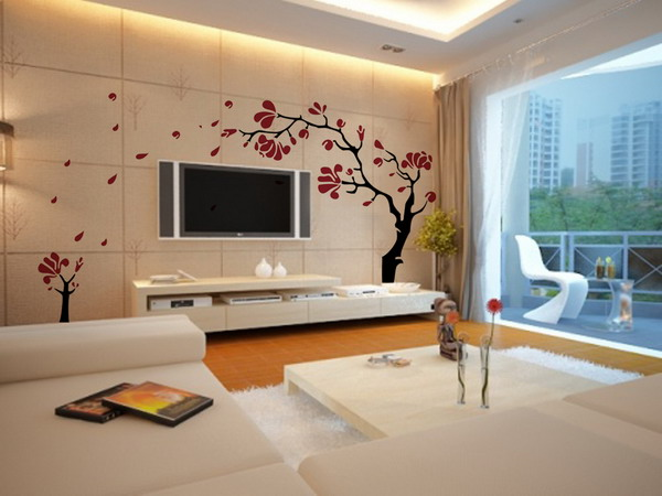 Trending Living Room Wall Decorating With Wall Decals Tree And Flat Screen  TV Wall Designs For