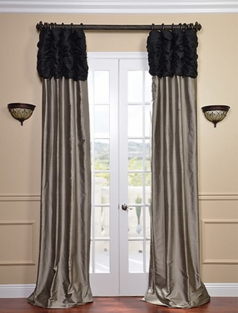Trending Ruched Thai Silk Curtain - Midnight Black Header u0026 Silver Grey Panel silver grey curtains