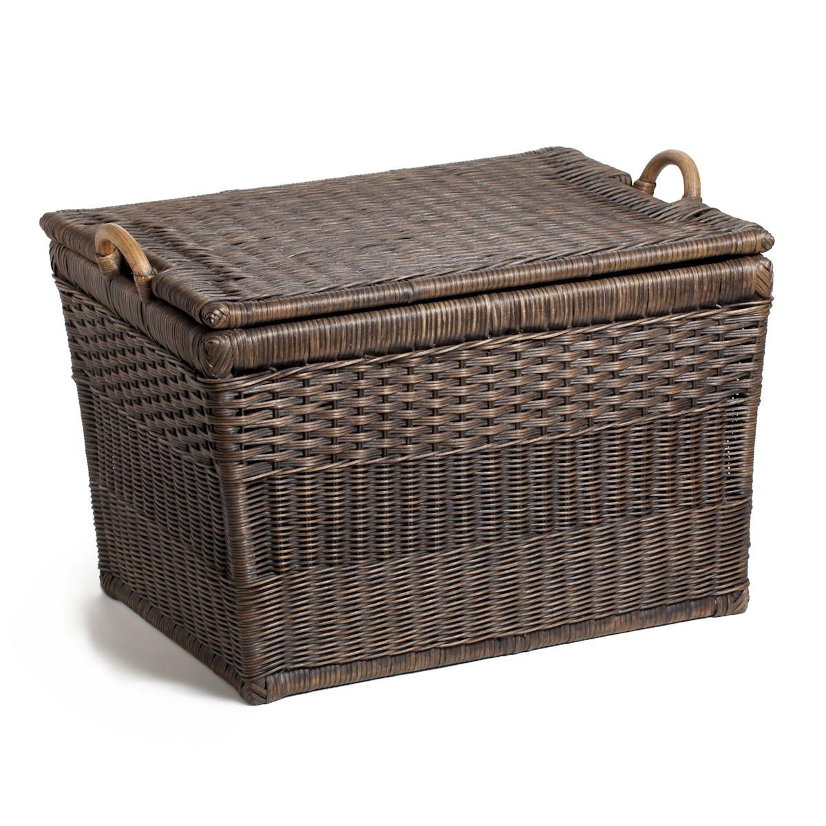 Trending ... The Basket Lady Lift-off Lid Wicker Storage Basket ... wicker storage baskets