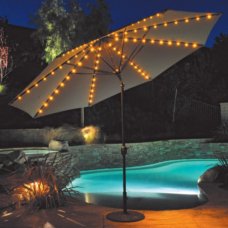 Unique Auto Tilt Patio Umbrella with LED Umbrella Lights | www. patio umbrella lights