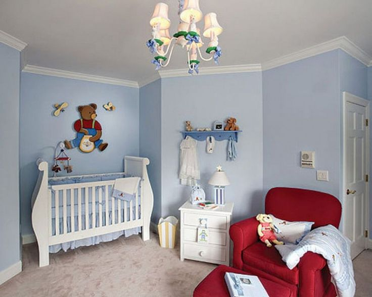 Unique Baby Nursery, Astounding Baby Blue Room Decoration With Gorgeous Red Armed  Chair baby boy room decoration ideas