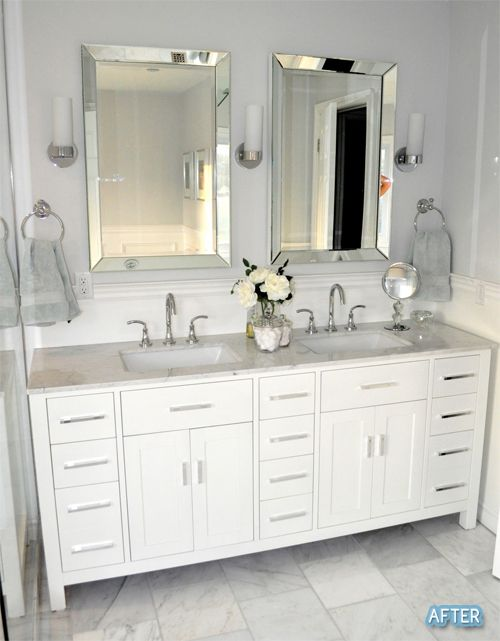 Unique Before And After Small Bathroom Makeovers Big On Style double vanity bathroom mirrors