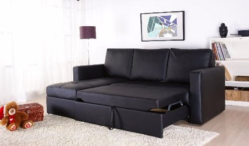 Unique Black Faux Leather Sectional Sofa Bed with Left Facing Storage Chaise sectional sofa bed with storage