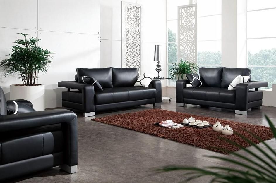 Unique Black Leather Sofa Set with Matching Throw Pillows leather sofa pillows