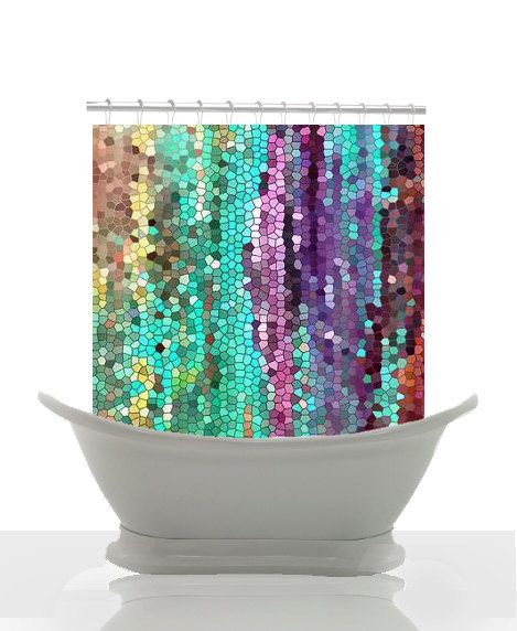 Cool Beautiful Shower Curtain Morning Has Broken Mosaic Unique Fabric Teal
