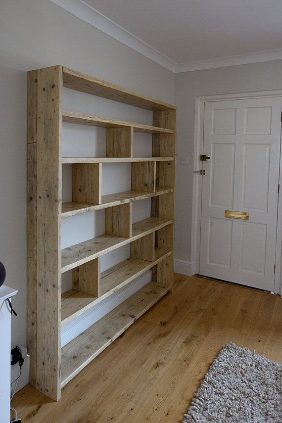 Unique Large reclaimed wooden bookcase with vertical dividers large wooden bookshelf
