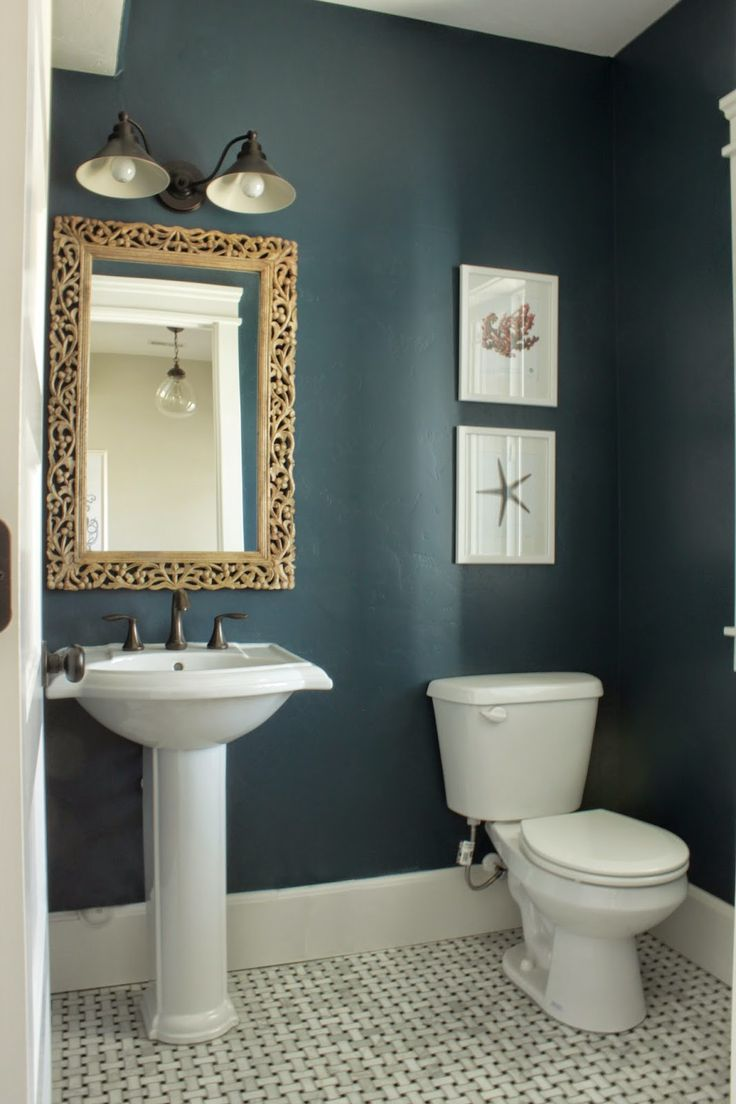 Unique The half bath in Amberu0027s Idaho Falls home looks stunning in Rainstorm small bathroom paint colors