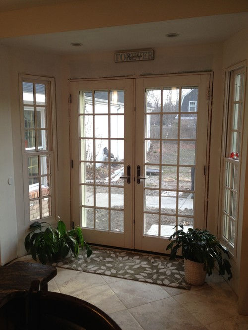 Unique Window treatment on French doors? window treatments for french doors in kitchen