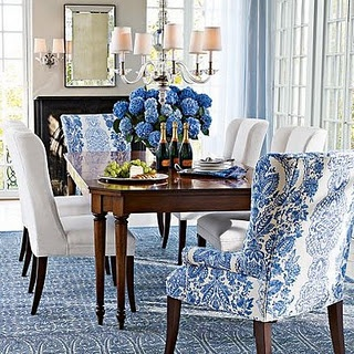 Cozy Blue And White Dining Room With Great Head Chairs   I Like Upholstered  Dining Room