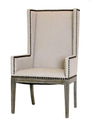 Amazing Linen Nailhead Dining Chair With Arms Natural Upholstery And Wood Upholstered Room Chairs