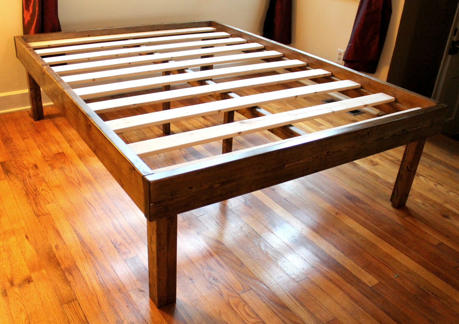 Best ... Rustic Wood Minimalist Bed Frame - Twin Full Queen King. ?zoom wood platform bed frame queen