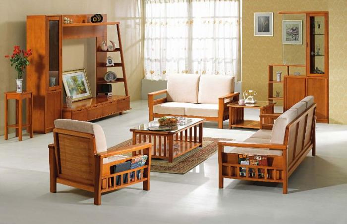 Ideas of Wooden sofa and furniture set designs for small living room wooden living room furniture sets