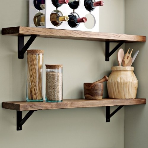 Chic Salvage wood shelves with simple metal brackets. Great idea for a bathroom wooden wall shelves