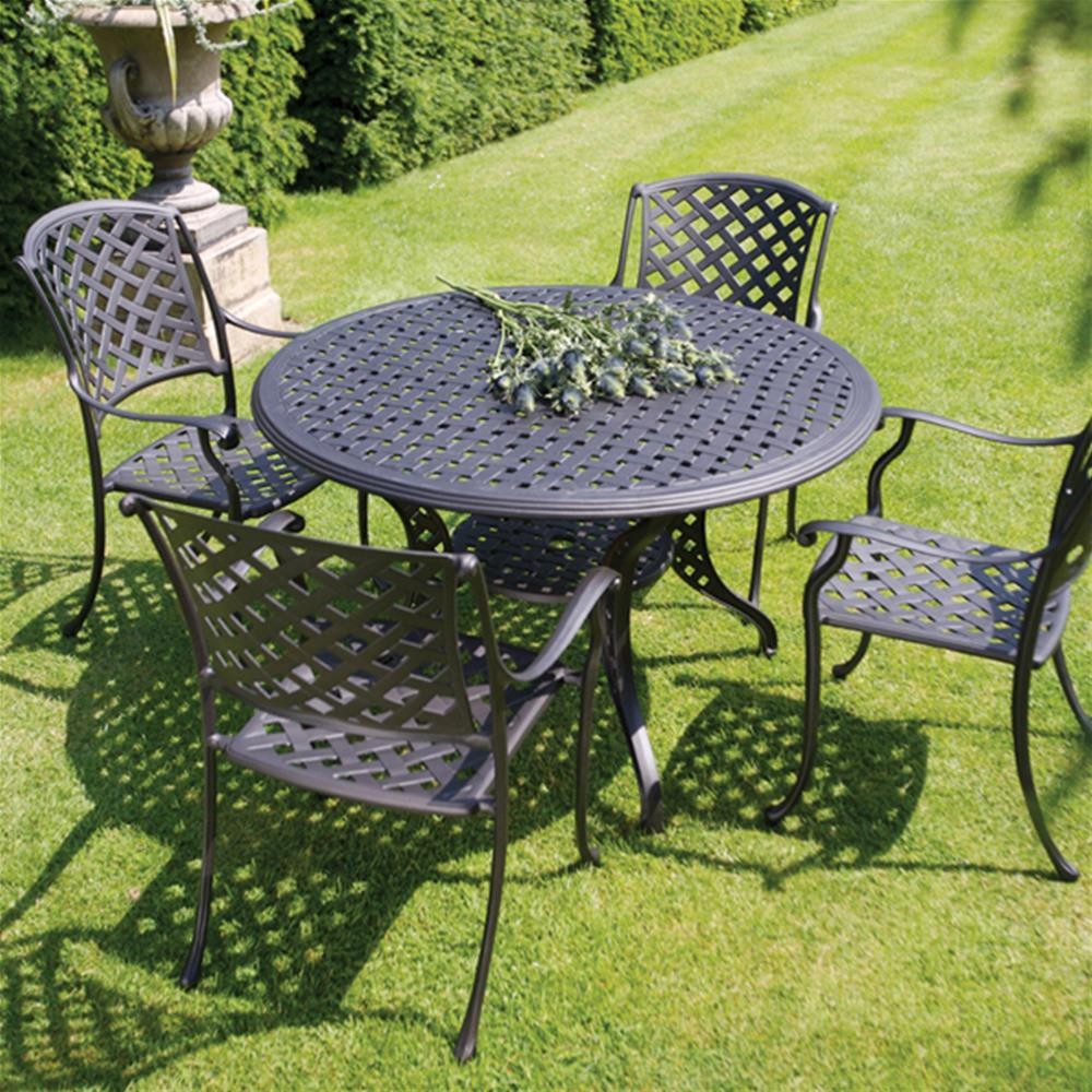 ... bramblecrest genoa 4 seat round cast aluminium garden furniture set YKYRCXH