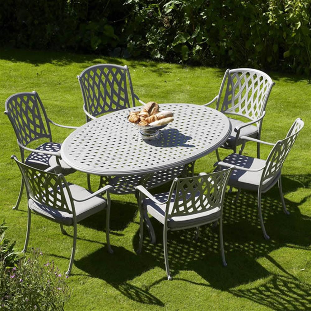 ... bramblecrest rome 6 seat cast aluminium garden furniture set IQTLJLX