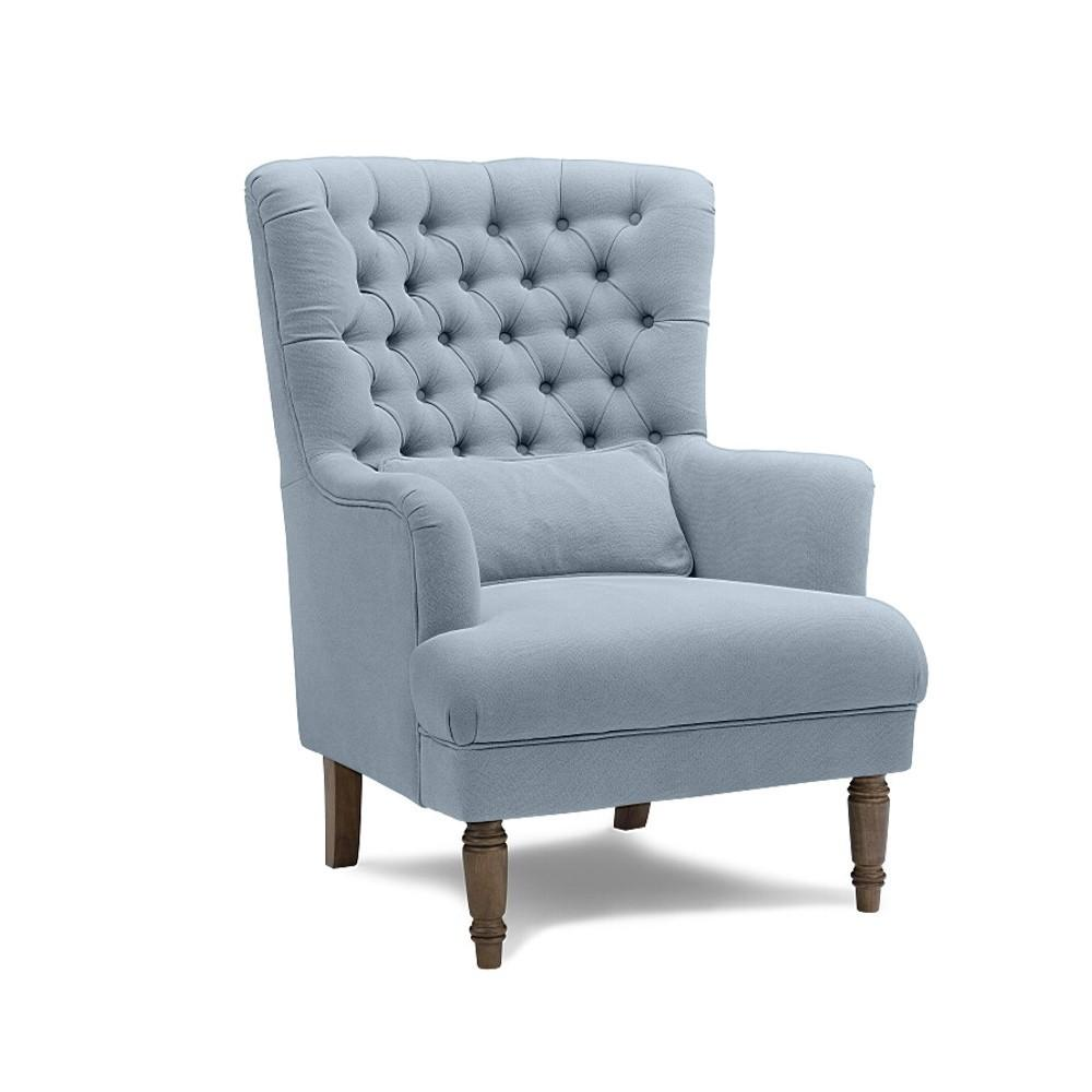 ... button wing chair slate blue ... QCMUJQV