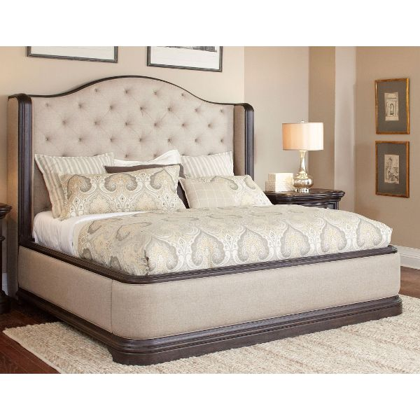 ... dark oak u0026 linen wingback upholstered traditional king size bed JNBZLIQ
