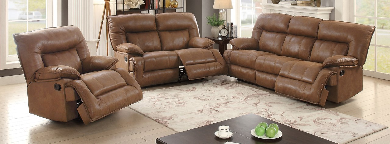 3 pcs dark brown breathable leatherette loveseat recliner sofa set EXSMSTP