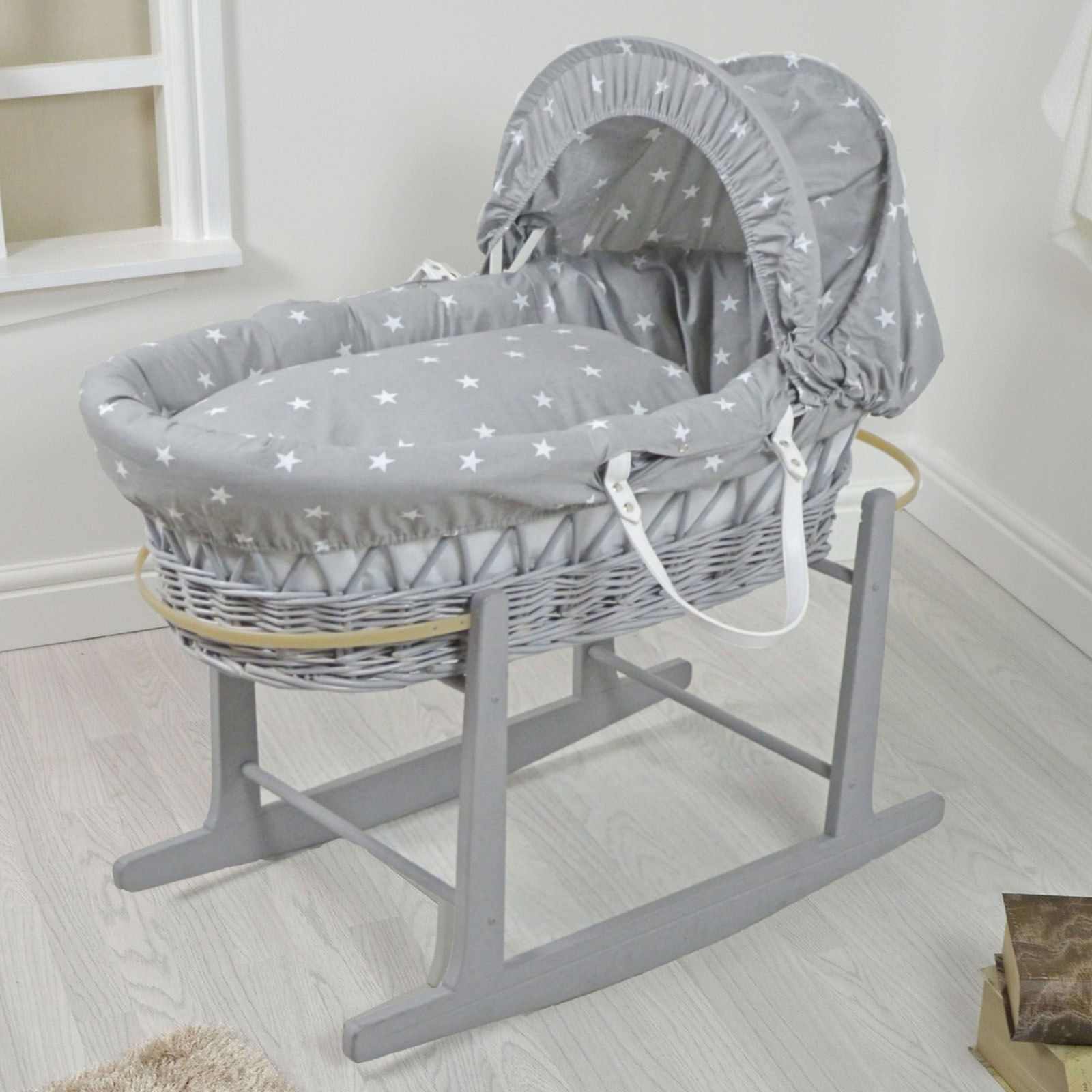 4baby padded grey wicker baby moses basket u0026 rocking stand - YIEIFBE