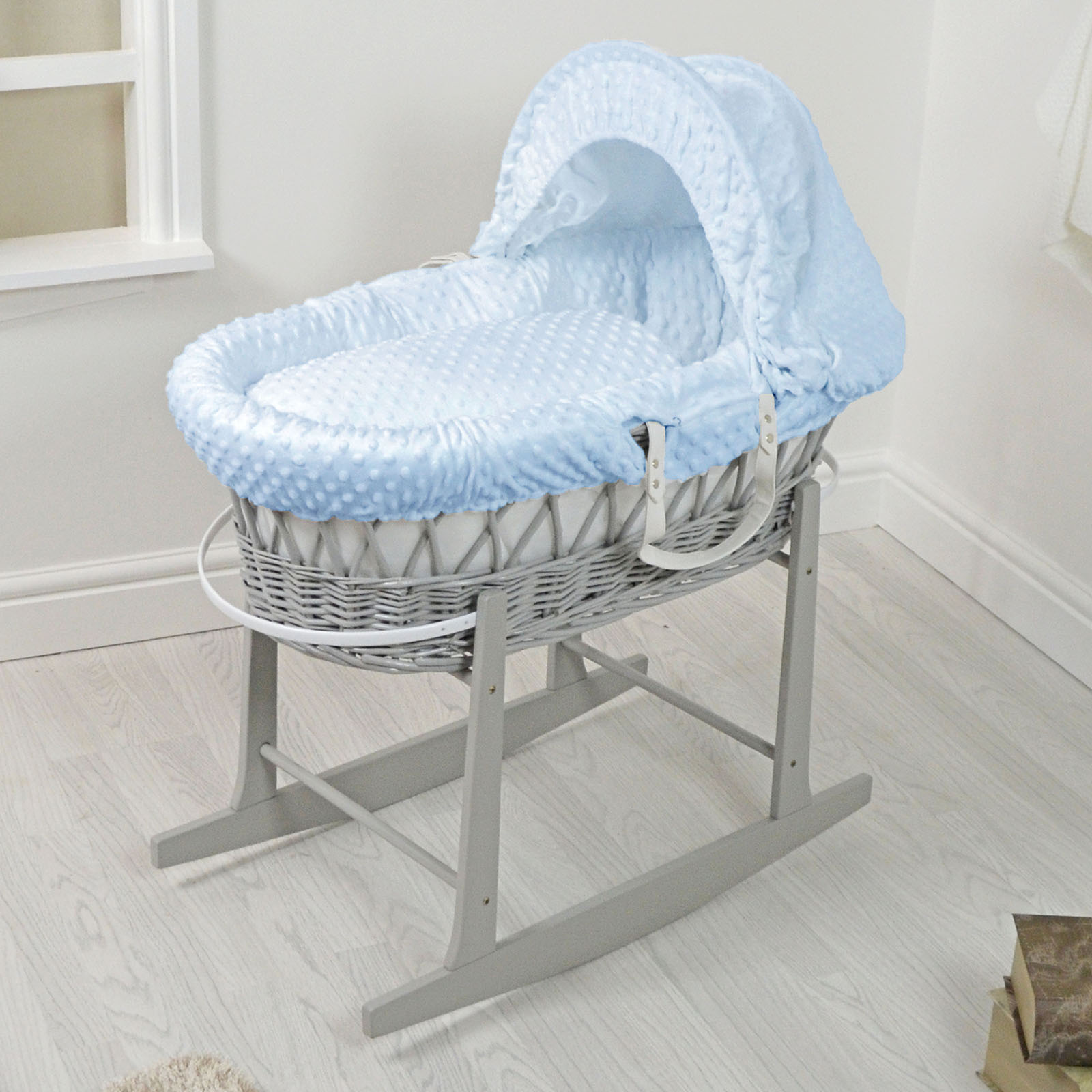 4baby padded grey wicker moses basket u0026 rocking stand - blue KDSYFIJ