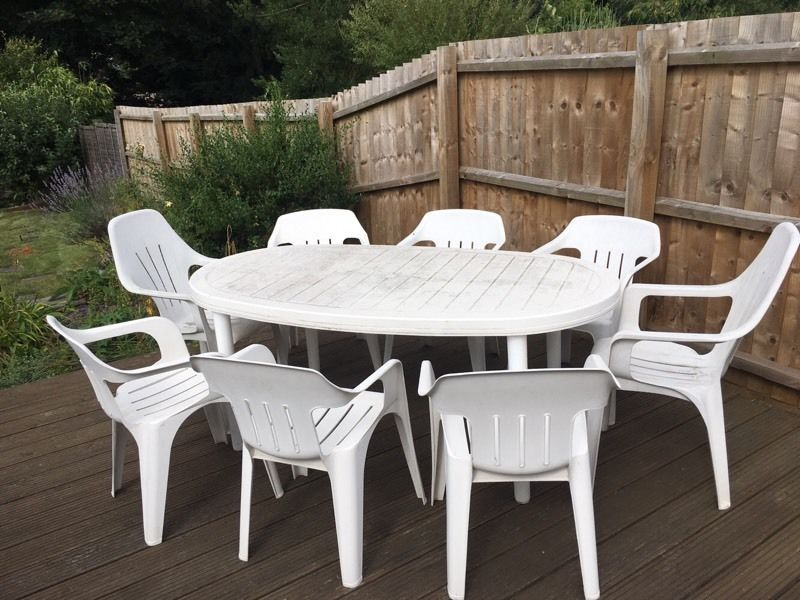 8 seat white plastic garden table chair set in ipswich PKFXRUC