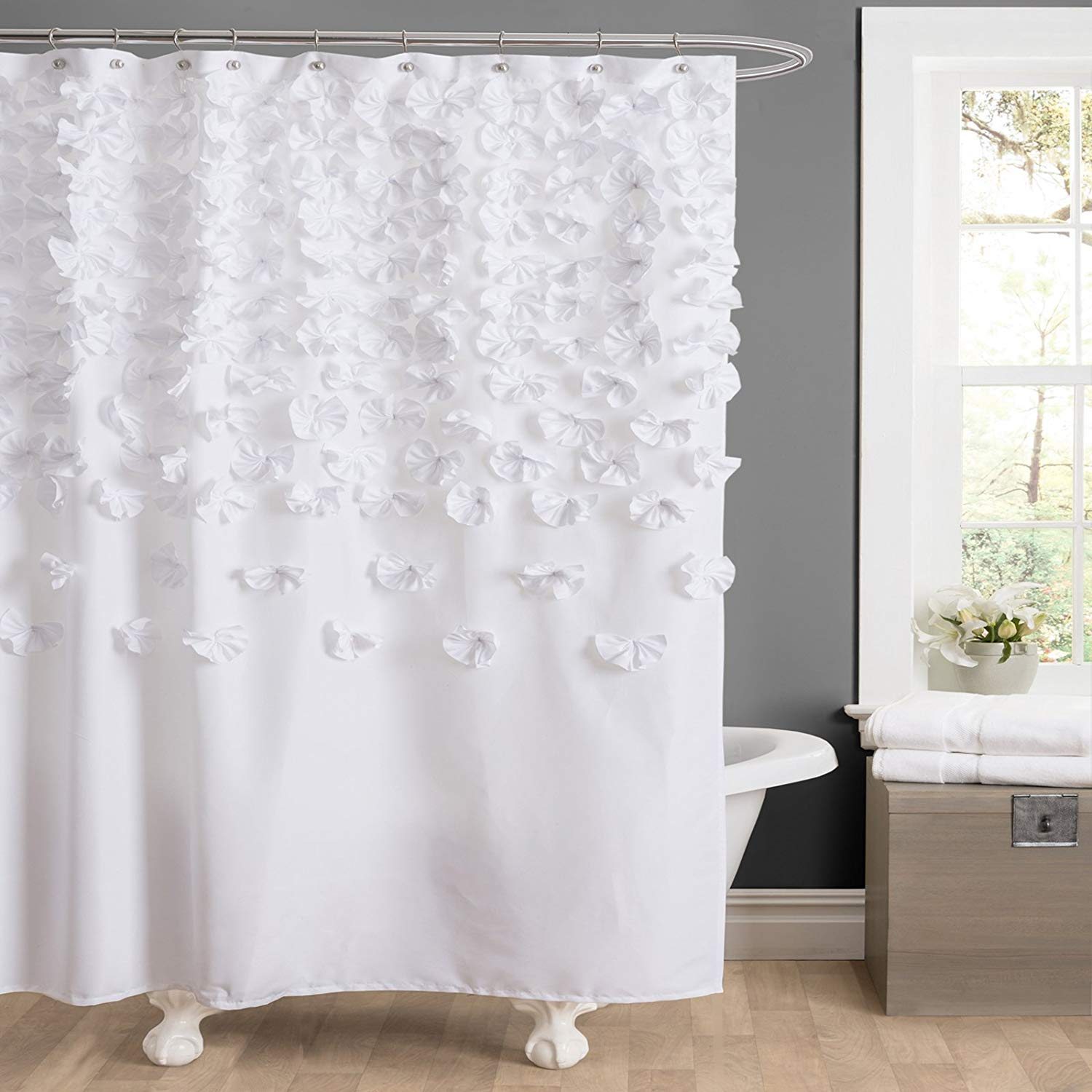 amazon.com: lush decor lucia shower curtain, 72 by 72-inch, white: home MMSICDY