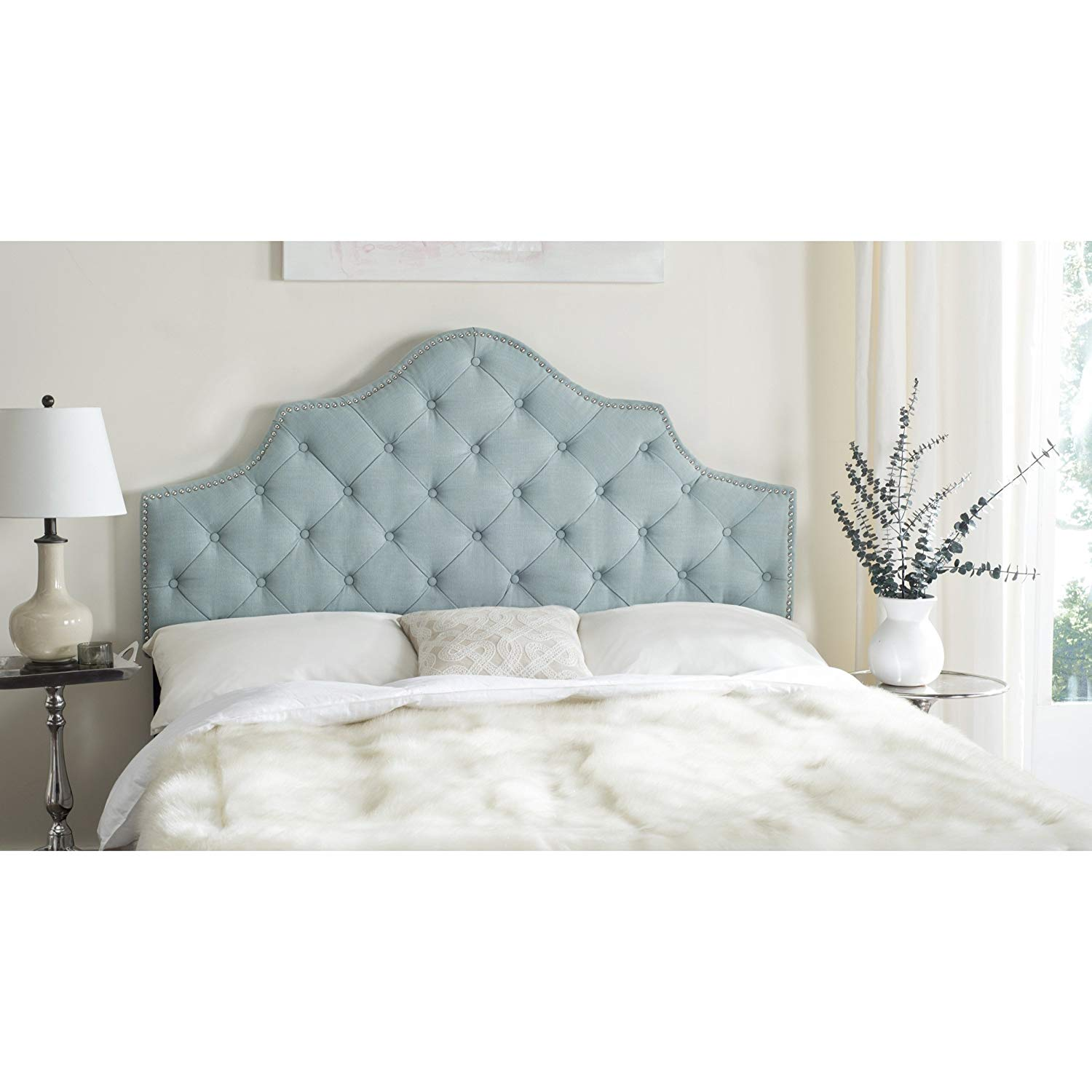 amazon.com - safavieh arebelle sky blue upholstered tufted headboard - AARNGCW