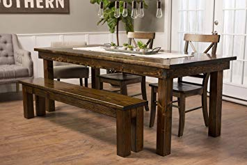 amazon.com: solid wood farmhouse dining table (96 WZTWLPE