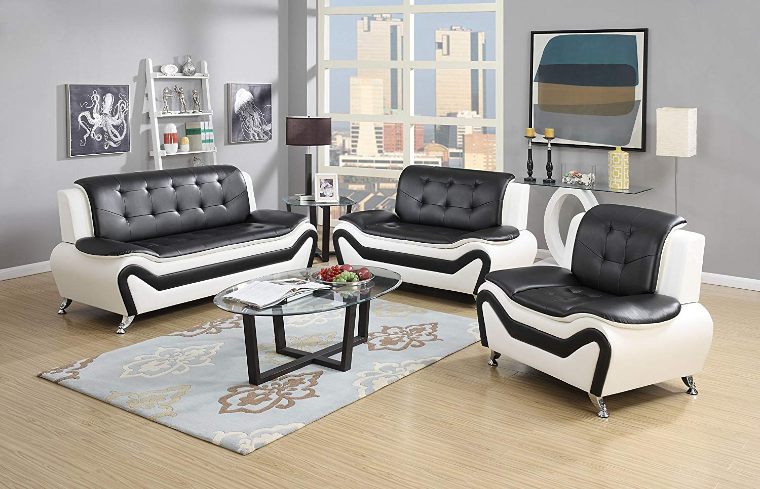 amazon.com: us pride furniture 3 piece modern bonded leather sofa set MTPEEDK