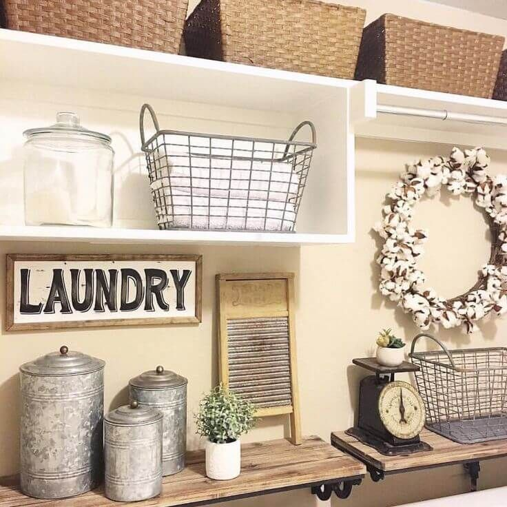antique metal laundry room decor ideas OIQAYNU