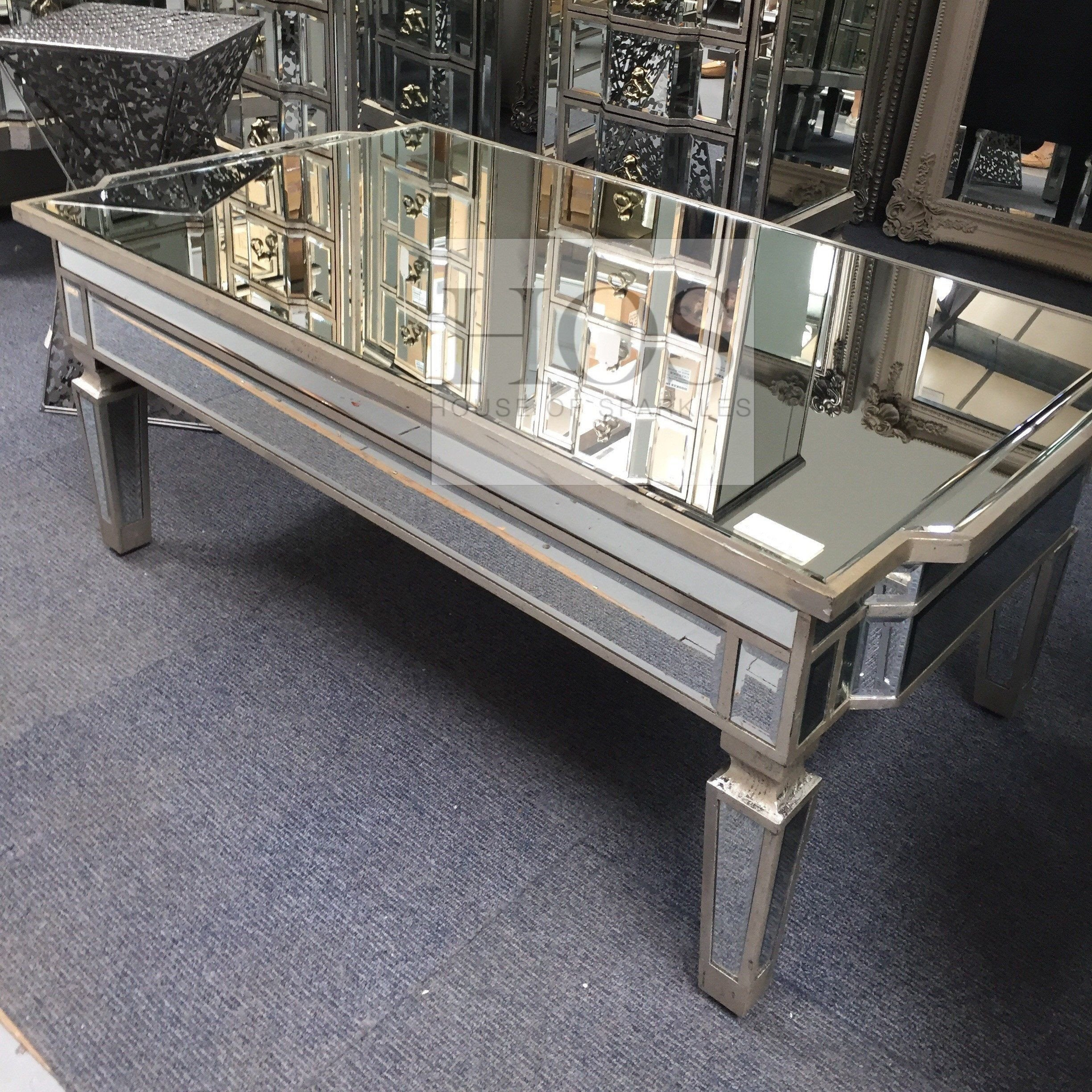 antique mirrored coffee table with storage - mirrored furniture - sparkle HVKGIRJ