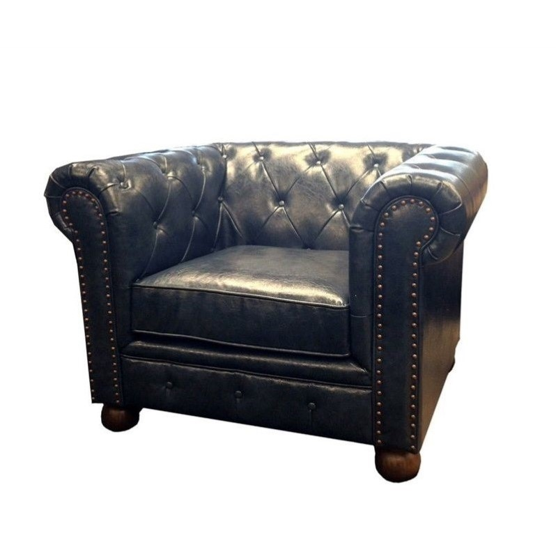 armen living winston vintage leather sofa chair in blue YNQKRQO