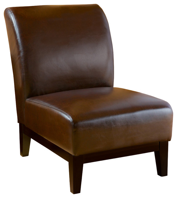 armless chairs brakar leather armless chair, brown VVMCRNH