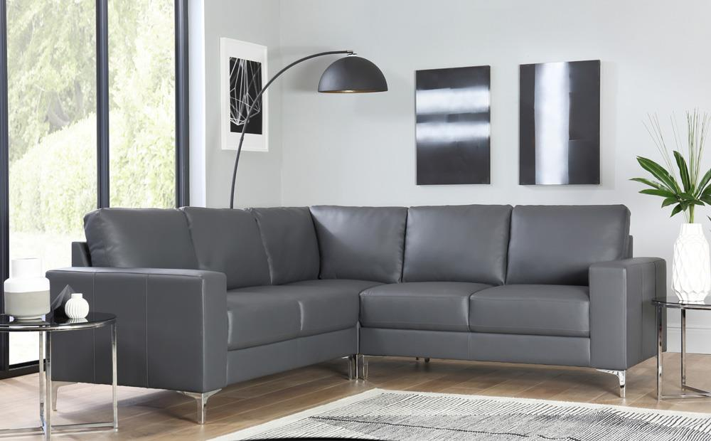 baltimore grey leather corner sofa ... RYTPMZT