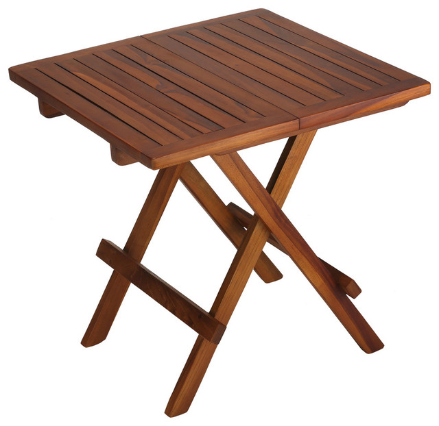 bare decor ravinia folding teak small table, oiled finish TRFFFBD