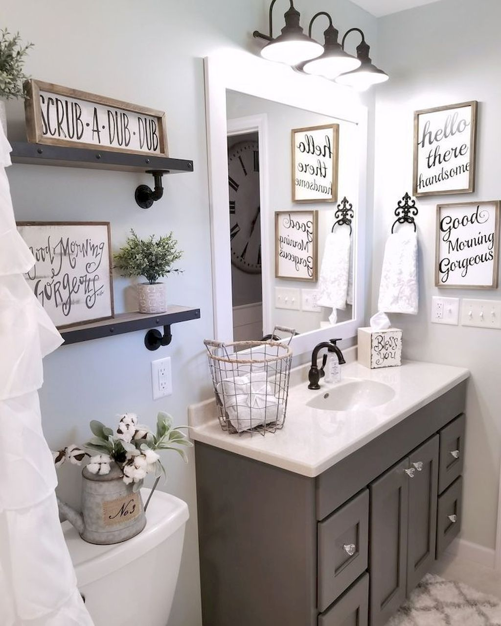 bathroom decorating ideas gorgeous 110 spectacular farmhouse bathroom decor ideas  https://roomadness.com/2017/12/15/110-spectacular-farmhouse-bathroom-decor- ideas/ UMEAOFE