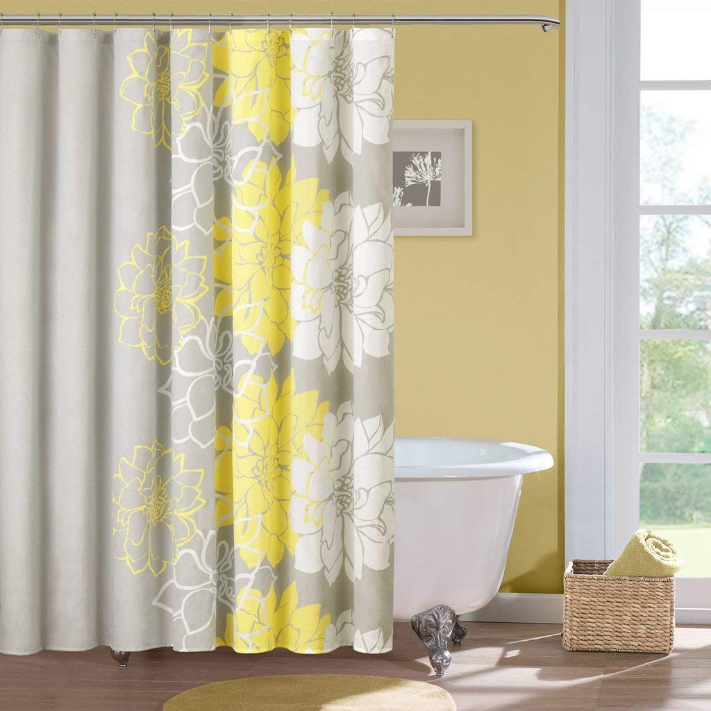 bathroom shower curtains amazon.com: madison park lola design floral cotton fabric long shower NEUVECR
