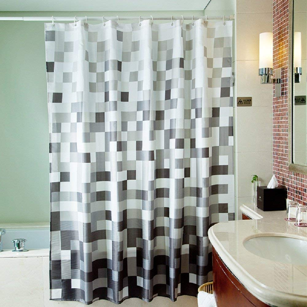 bathroom shower curtains amazon.com: uphome 72 x 78 inch fashion grey cube pattern ombre WGQBXSB