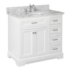 bathroom vanity kitchen bath collection - aria bath vanity, white, carrara marble, 36 UVLLESI