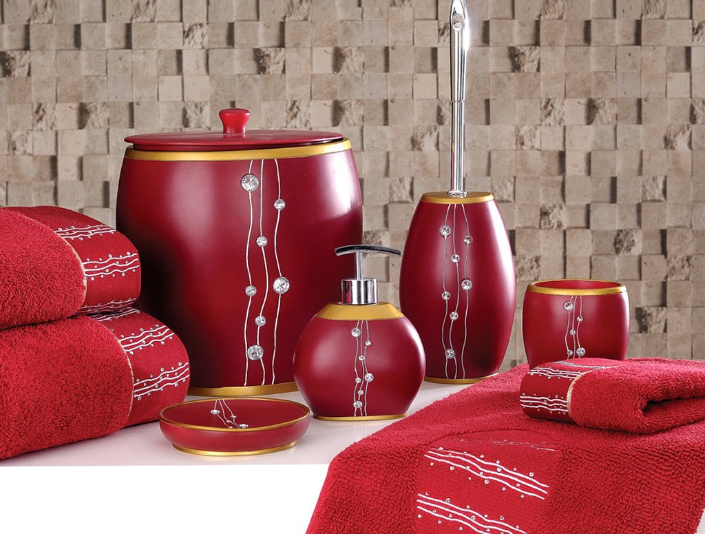 beautiful red bathroom accessories FDXDOGR