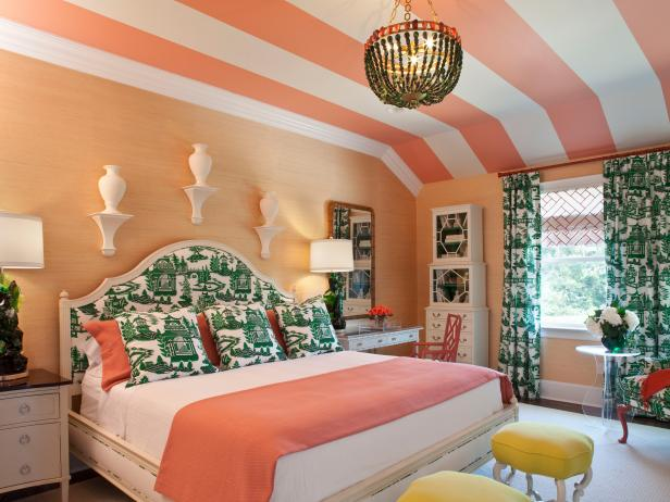 bedroom color scheme coral and green patterned bedroom BCDBULO