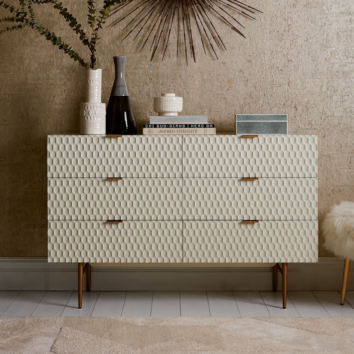 bedroom dressers audrey 6-drawer dresser - parchment | west elm EWJGWTT